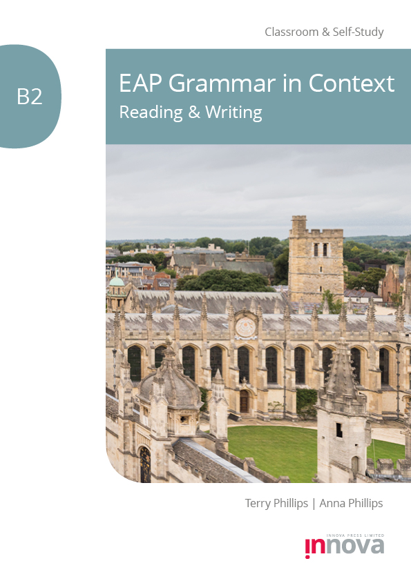 Front cover for EAP Grammar in Context B2 Reading & Writing published by Innova Press, stone university building exterior