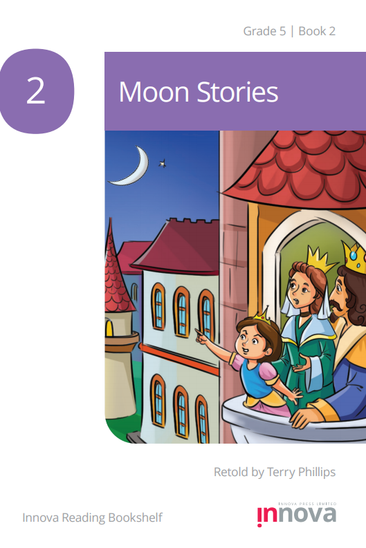 At the balcony of a castle tower, a small princess wearing a pink and blue dress points at the moon, with her parents the King and Queen looking up as well.