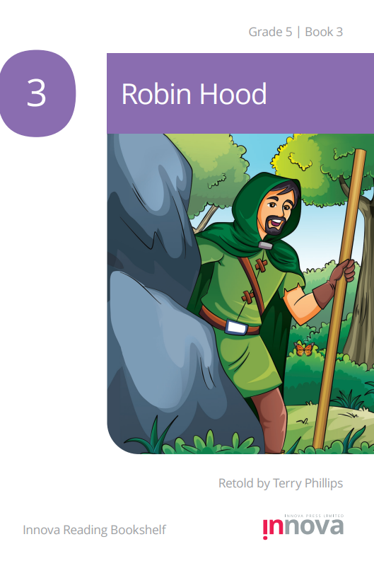 A man in green clothes and a hood, holding a walking stick, emerges from behind a boulder.