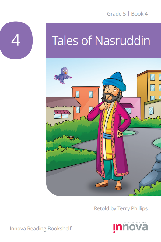 Nasruddin, wearing a yellow jacket and a deep pink outer robe, and a blue headdress, strokes his beard as he stands in the middle of a path.